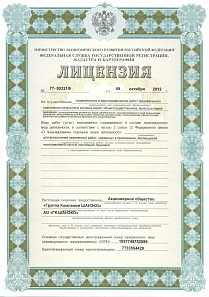 Licence for geodetic and cartographical work issued by the Ministry of Economic Development and the Federal Service for State Registration, Cadastre and Cartography of the Russian Federation